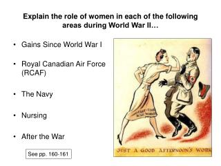 Explain the role of women in each of the following areas during World War II…
