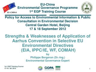 Policy for Access to Environmental Information & Public Consultation in Environmental Decision