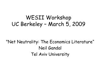 WESII Workshop  UC Berkeley – March 5, 2009