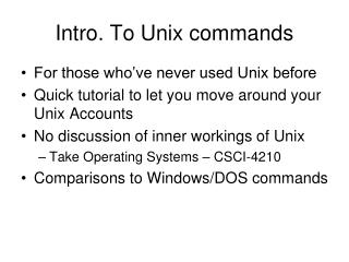Intro. To Unix commands