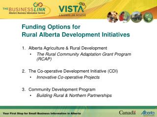 Funding Options for Rural Alberta Development Initiatives