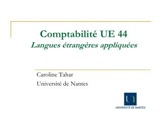 Comptabilité UE 44 Langues étrangères appliquées