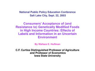 National Public Policy Education Conference  Salt Lake City, Sept. 22, 2003