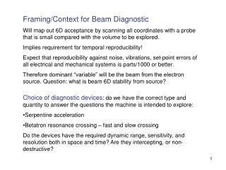 Framing/Context for Beam Diagnostic