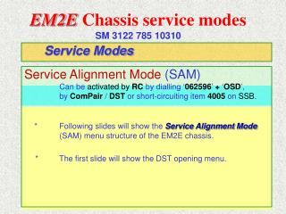 EM2E Chassis service modes SM 3122 785 10310