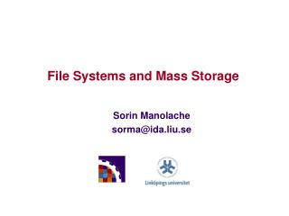 File Systems and Mass Storage