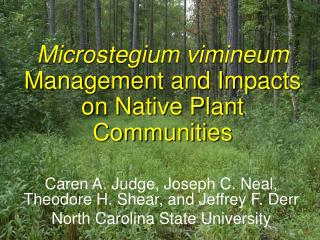 Microstegium vimineum  Management and Impacts on Native Plant Communities