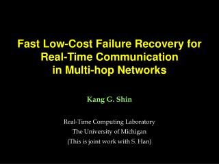 Fast Low-Cost Failure Recovery for  Real-Time Communication  in Multi-hop Networks
