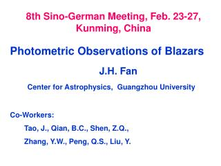 8th Sino-German Meeting, Feb. 23-27, Kunming, China