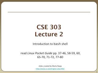 CSE 303 Lecture 2