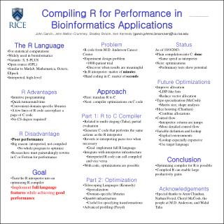 Compiling R for Performance in Bioinformatics Applications