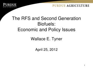 The RFS and Second Generation Biofuels: Economic and Policy Issues