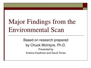 Major Findings from the Environmental Scan