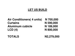LET US BUILD Air Conditioners( 4 units)    N 700,000 Curtains   							N 590,000