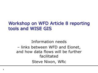 Workshop on WFD Article 8 reporting tools and WISE GIS