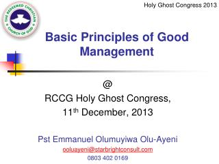 Basic Principles of Good Management