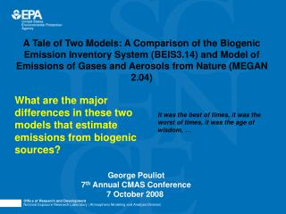George Pouliot 7 th  Annual CMAS Conference 7 October 2008