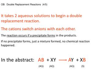 OB:  Double Replacement Reactions  (4/5)