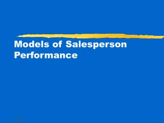Models of Salesperson Performance