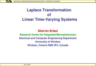 Laplace Transformation of  Linear Time-Varying Systems