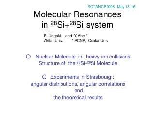 SOTANCP2008  May 13-16 Molecular Resonances in  28 Si+ 28 Si system