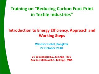Introduction to Energy Efficiency, Approach and Working Steps