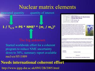 Nuclear matrix elements