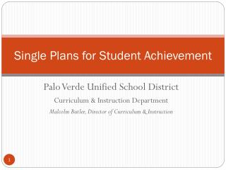 Single Plans for Student Achievement