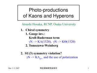 Photo-productions  of Kaons and Hyperons