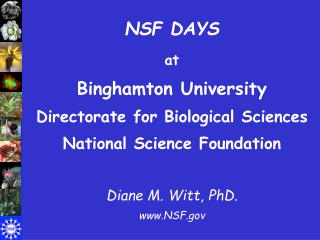 NSF DAYS at Binghamton University Directorate for Biological Sciences National Science Foundation