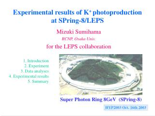 Experimental results of K +  photoproduction  at SPring-8/LEPS