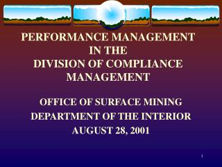 PERFORMANCE MANAGEMENT IN THE DIVISION OF COMPLIANCE MANAGEMENT
