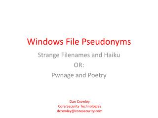 Windows File Pseudonyms