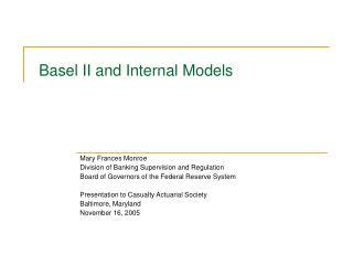 Basel II and Internal Models