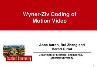Wyner-Ziv Coding of  Motion Video