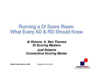 Running a DI Score Room: What Every AD & RD Should Know