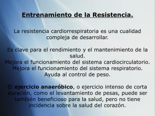 Entrenamiento de la Resistencia.