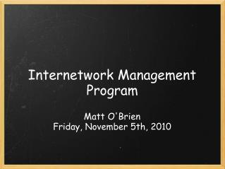 Internetwork Management Program
