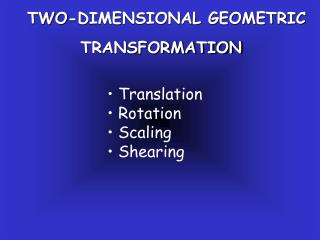TWO-DIMENSIONAL GEOMETRIC