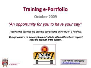 Training e-Portfolio