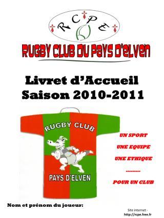 Livret d'Accueil  Saison 2010-2011