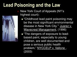 Lead Poisoning and the Law