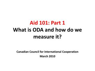 Aid 101: Part 1 What is ODA and how do we measure it?