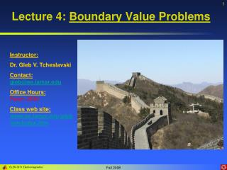 Lecture 4: Boundary Value Problems