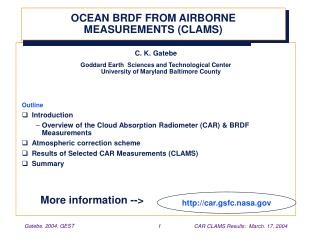 OCEAN BRDF FROM AIRBORNE MEASUREMENTS (CLAMS)