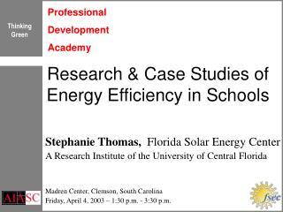 Research & Case Studies of Energy Efficiency in Schools