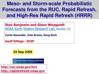 Meso- and Storm-scale Probabilistic Forecasts from the RUC, Rapid Refresh,