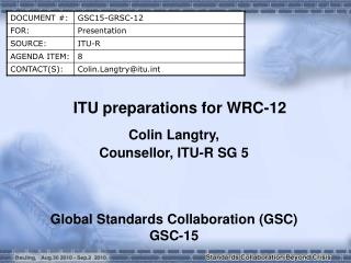 ITU preparations for WRC-12