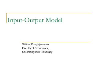 Input-Output Model