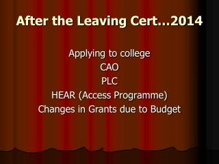 After the Leaving Cert�2014